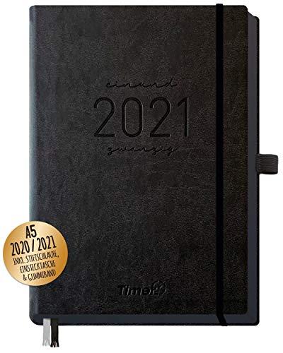 Chäff-Timer Deluxe Kalender 2020/2021 A5 [All Black] Terminplaner 18 Monate: Juli 20 - Dez. 21   Terminkalender, Wochenplaner mit Stiftschlaufe, Gummiband & Einstecktasche   nachhaltig & klimaneutral
