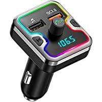 Cocoda Transmisor FM Bluetooth Coche, 7 Colores con Retroiluminación LED Manos Libres para Coche, Reproductor MP3 Adaptador Receptor Bluetooth con QC 3.0 Cargador Coche, Soporte Tarjetas SD + U Disk