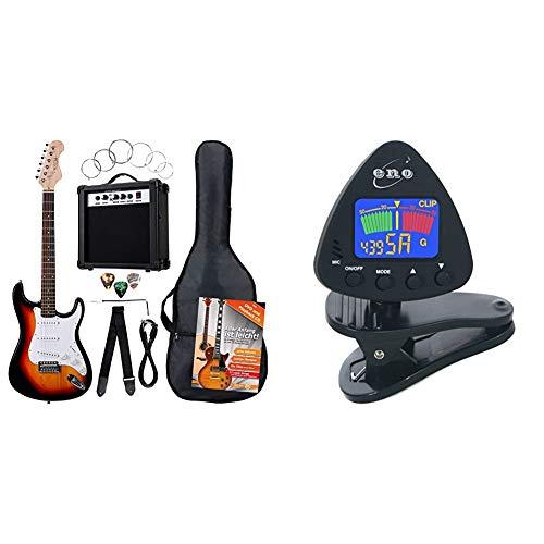 Rocktile BangerPack de 7 piezas, guitarra eléctrica, sunburst + Eno Clip para afinador de guitarra y ukelele, Sintonizador de bajos y violín, Sintonizador cromático con batería incluida