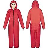 La CASA De Papel De Costume Rouge avec Masque - Déguisement Combinaison Rouge Voleur pour Adulte - Cosplay d'Halloween(M-XL)