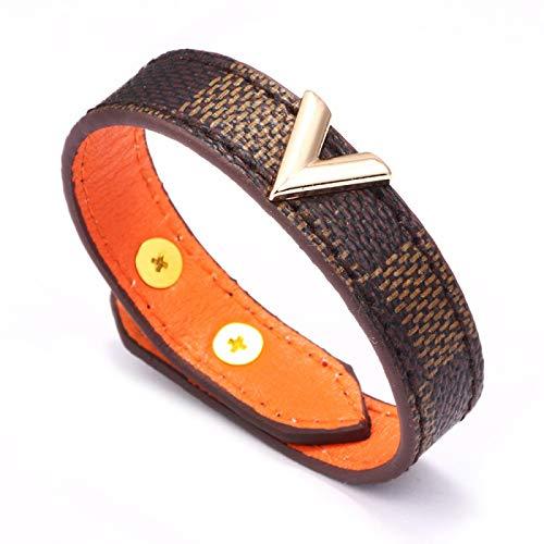 XUEKE Charmsmic - Pulseras y brazaletes de cuero para hombre, diseño de serpiente, rayas anchas, para mujeres, joyas, regalos, pulsera Homme marrón