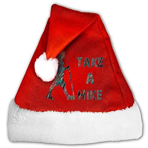 Take A Hike - Gorro unisex de Pap Noel, cmodo, color rojo y blanco, de terciopelo para fiesta de Navidad