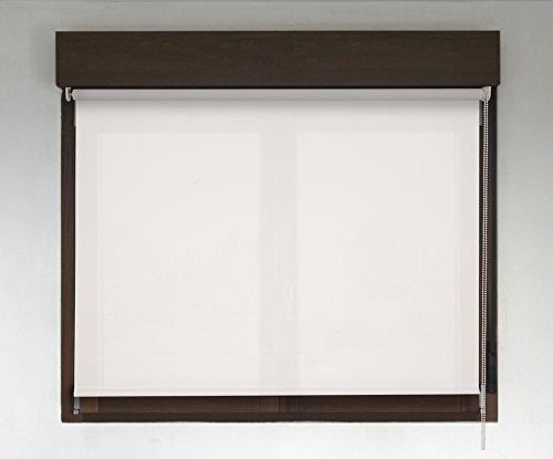 Estor Enrollable TRANSLÚCIDO Premium (Desde 40 hasta 300cm de Ancho/Permite Paso de luz, no Permite Ver el Exterior/Interior). Color Blanco. Medida 220cm x 160cm para Ventanas y Puertas