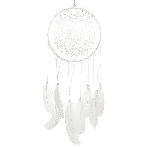 VANKER Dream Catcher,atrapasueños con Pluma Colgante decoración,50-55cm de Largo - Blanco