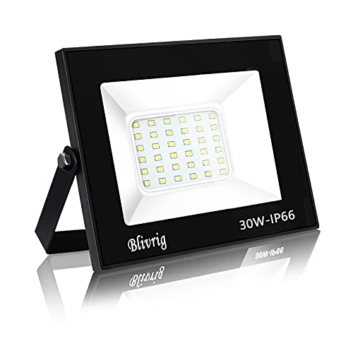 Blivrig foco led exterior,30W LED Foco Exterior, 3000LM Alto Brillo Proyector Led IP66 Impermeable Blanco Cálido 3000K Foco Exterior para Patio, Camino, Jardín, Almacén
