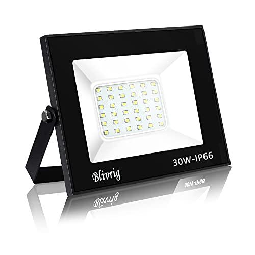 Blivrig 30W LED Foco Exterior de alto brillo,3000LM Impermeable IP66 Proyector Foco LED, 6000K Blanco Frío Led Foco Exterio para Patio, Camino, Jardín