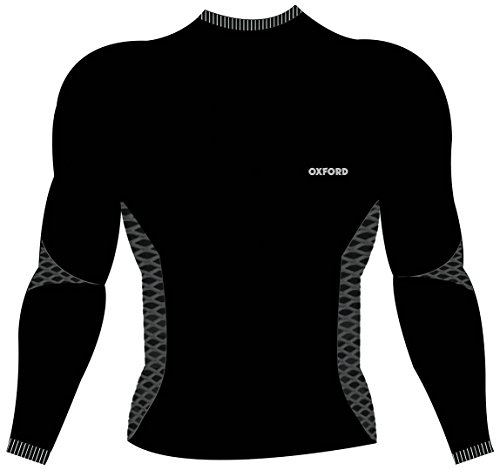 Oxford Camiseta Interior de Punto de Manga Larga para Motocicleta, térmica, Color Negro, Talla S/M