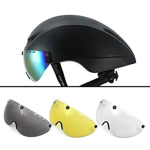 linfei Helm Triathlon Radhelm Mit Für Männer Frauen Sicherheit Rennrad Helm Fahrrad Race Helm 54-60Cm Schwarz Grau-4 Linse