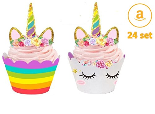 Unicorn Cupcake Reversible Wrapper and Topper 24 set Kids Party Decorations
