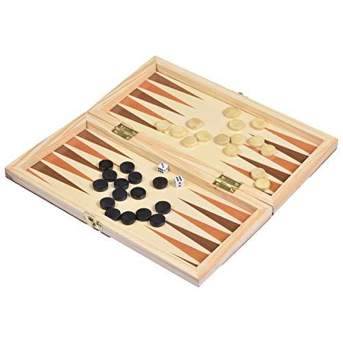 Liuxingyu en Bois en Bois Autocollants 3 en 1 International Échecs Vérificateurs Occidental Jacquet Jeu D'échecs 23,5 Cm