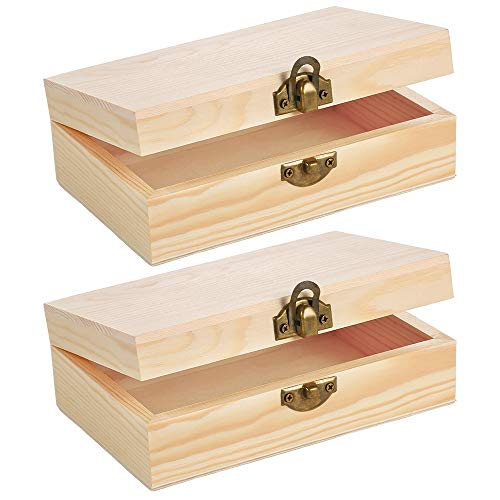 Caydo 2 Pieces Easter Unfinished Wood Box with Hinged Lid and Front Clasp for Crafts, Art, Hobbies and Home Storage, 6
