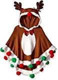 Blizzard Bay Girls Ugly Chrismas Sweater Poncho, Brown/White/Reindeer, 6X