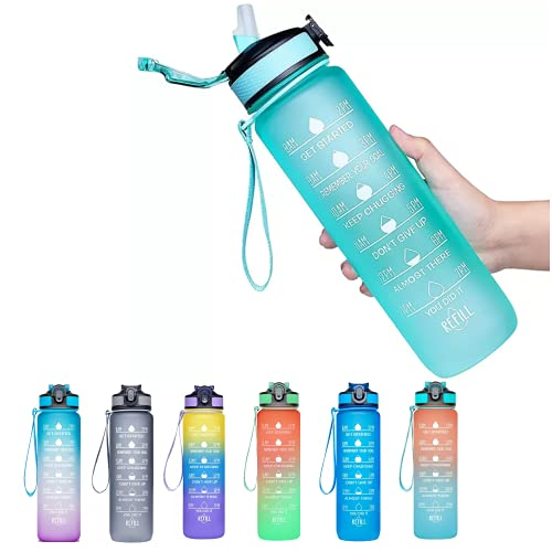 Viogor 32oz Sports Water Bottle With Time Marker & Straw,to Ensure You Drink Enough Water Throughout The Day for Fitness and Outdoor Enthusiasts, Leakproof Durable BPA Free (Green, 32oz)