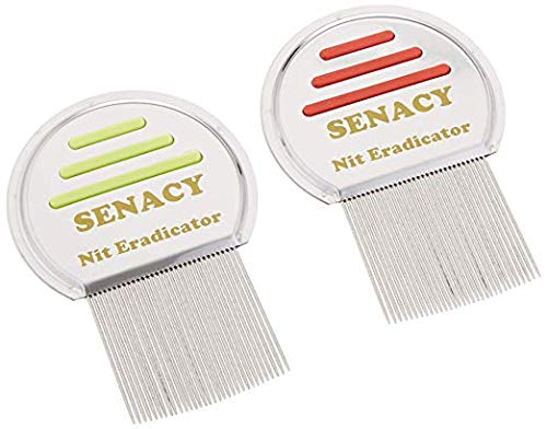 Nit Terminator Lice Comb  Set of 2 Efficient Double Striped Stainless Steel Metal for Adults and Kids