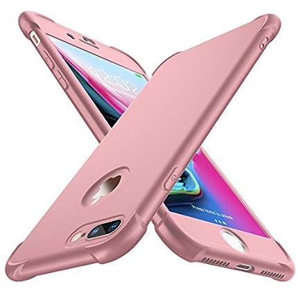 ORETECH Funda Compatible con iPhone 7 Plus et iPhone 8 Plus, con 2X Protector de Pantalla de Vidrio Templado Carcasa para iPhone 8 Plus Silicona Ligera TPU Bumper Caso para iPhone 7 Plus Oro Rosa