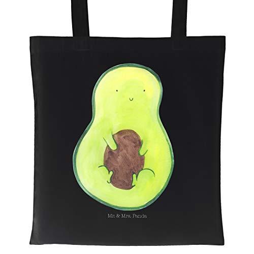 Mr. & Mrs. Panda Baumwolltasche, Umhängetasche, Tragetasche Avocado mit Kern - Farbe Schwarz