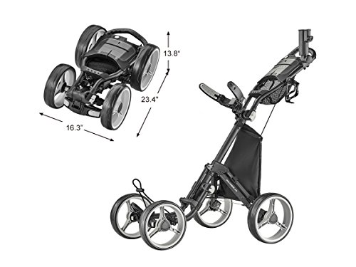 CaddyTek 4 Wheel Golf Push Cart - Compact, Lightweight, Close Folding Push Pull Caddy Cart Trolley - Explorer V8