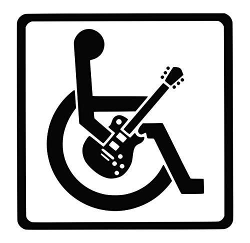 【全16色】車椅子マーク/車イス サイン/カー ステッカー/Car/ギター/1/車用/シール/Vinyl/Decal/バイナル/デカール/-1 (黒) [並行輸入品]
