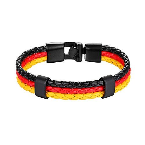 Stilvoll Flagge zeigen. Fan-Armband Deutschland aus geflochtenem Leder - Schwarz - Rot - Gold