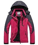 donhobo Womens Waterproof Jacket Winter Warm Fleece with Hood Windproof Camping Hiking Coat(Rosy,M)