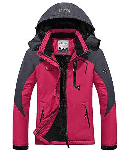 donhobo Womens Waterproof Jacket Winter Warm Fleece with Hood Windproof Camping Hiking Coat(Rosy,L)