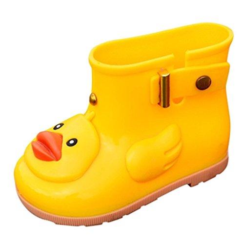 Voberry@ Waterproof Rain Boots,Cartoon Duck Rain Shoes,Rubber Rain Booties for Kids Toddler Girl Boys (12-24M, Yellow)