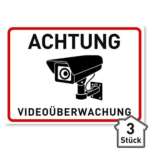 3 x Aufkleber Videoüberwachung - A6 (14,8 x 10,5 cm) - Schild - Hinweisschild - Warnschild - Achtung Videoüberwachung für Fenster und Türen - Warnhinweis für außen - V2