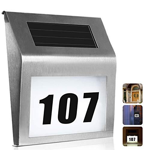 Uniquefire Solar Hausnummernleuchte Edelstahl LED Licht mit Zahlen Buchstaben Licht Sensor (Silber) [Energieklasse A++]