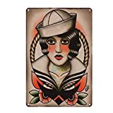 Kustom Factory Placa De Acero Vintage Pinup Sailor Jerry...