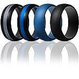 Thunderfit Mens Silicone Rings Wedding Bands - 4 Pack (Dark Blue, Black Middle Dark Blue, Black middle Dark Grey, Black, 8.5 - 9 (18.9mm))
