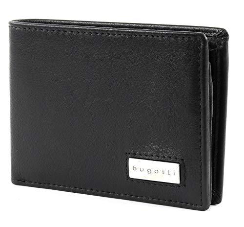 bugatti City Line RFID Coin Wallet with Flap 4CC Metal Logo Black