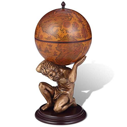 Zora Walter 12.5kg Globus-Bar Atlas Bartisch Stehtisch Mit 4 F?Chern - Alter Wektkarte Verziert Und Mit St¨¹TZE In Form Der Mythologischen Figur Atlas