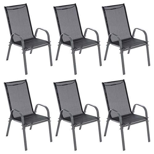 6er Set Gartenstuhl Camping Stapelstuhl Hochlehner Terrassenstuhl – Textilene Stahl stapelbar – Farbe: Rahmen anthrazit/Bespannung schwarz
