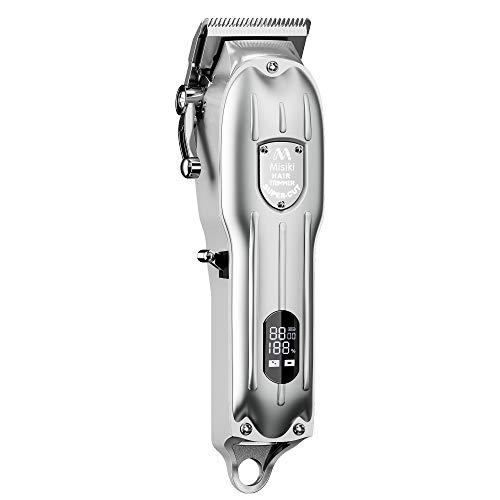 Misiki Haarschneidemaschine Haarschneider für Herren Schnurlose Profi Haarschnitt Pflege Kit Bartschneider mit LED-Anzeige, Wiederaufladbarer, Silber