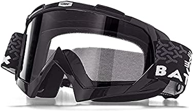 KINGBIKE Motorcycle Goggles Dirt Bike Gear ATV Motocross Safety ATV Tactical Riding Motorbike Glasses Goggles for Men Women Youth Fit Over Glasses UV400 Protection Shatterproof (Black&clear)