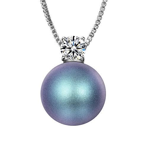 J.RENEÉ Colgantes Mujer Perla, Perlas Azul de Swarovski, Joyas para Mujer, Collares Mujer, Regalos para Mujer, Joyeria Mujer