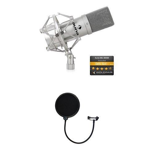 Auna MIC-900S USB Kondensator Mikrofon für Studio-Aufnahmen inkl. Spinne + TIE Audio professioneller Popfilter mit doppelter Nylonbespannung