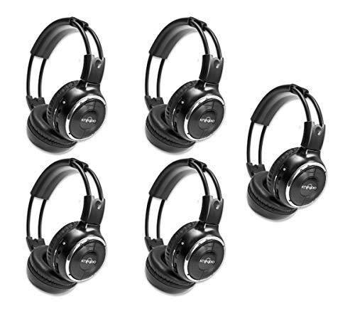 "5 Pack of Two Channel Fold Adjustable Universal Rear Entertainment System Infrared Headphones 5 Additional 48"" 3.5mm Auxiliary Cords Wireless IR DVD Player Head Phones Car TV Video Audio Listening"