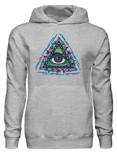 Colorido Ornamentado Illuminati Eye Pullover Sudadera con capucha bnft, gris, S