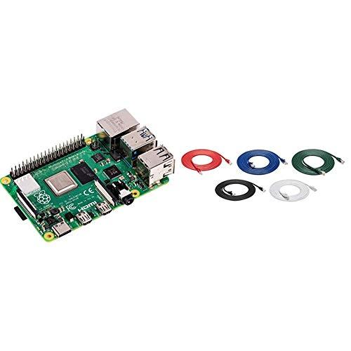 Raspberry Pi 4 Modèle B 4 Go ARM-Cortex-A72 4 x 1,50 GHz, 4 Go, 4 x USB, 2 x Micro HDMI & AmazonBasics Câble Ethernet Cat 6, Protégé Contre Les Plis, Noir/Rouge/Bleu/Blanc/Vert, 305 cm, 5 Pièces