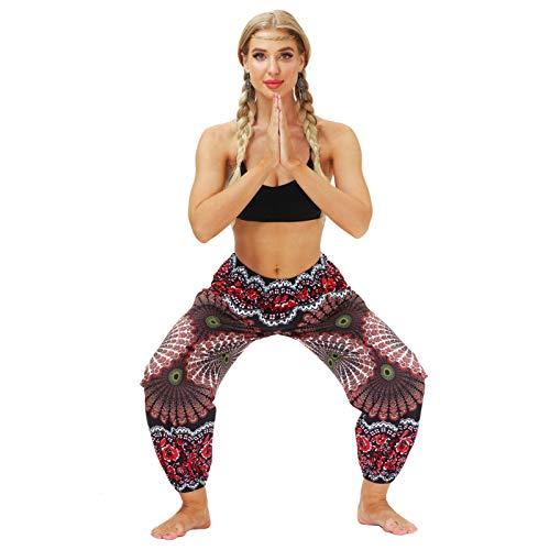 BIKETAFUWY Spodnie damskie, długie, hippie spodnie typu patchwork, spodnie do jogi, kolorowe wzory boho, spodnie na czas wolny, letnie spodnie alladynki, styl Baggy, Harem, z elastycznym ściągaczem, rozmiar uniwersalny