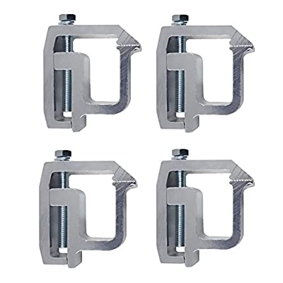 Y-autopart Mounting Clamps Truck Caps Camper Shell Powder-Coated Replacement for Chevy Silverado Sierra 1500 2500 3500,Dodge Dakota Ram 1500 2500 3500, F150 F250,Toyota Tundra Set of 4 (Silver)
