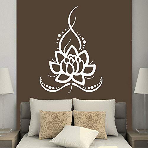 Hnxdp wandtattoos yoga lotus indischen buddha aufkleber vinyl aufkleber wohnkultur schlafzimmer innenarchitektur kunstwand wasserdichte dekoration weiß 57x78 cm