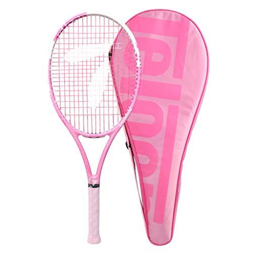 Schläger Vollcarbon-Tennisschläger Mädchen-spezifischer Anfänger-Tennisschläger Einzelanfängeranzug Mit Line-Tennis-Pink Kinder-Tennisschläger (Color : Pink, Size : 27 inches)