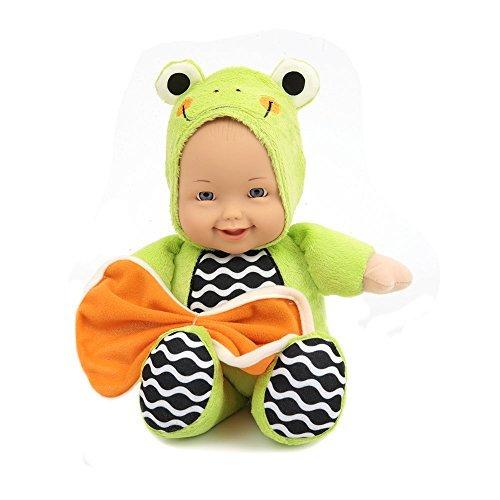 Mamatoy - My First Froggy Doll - Mueca de Tela Suave para nias y bebs con Cara de Vinilo y Dos Accesorios: el Disfraz de Rana y una Toalla de Colores - Apto para nias a Partir de 10 Meses