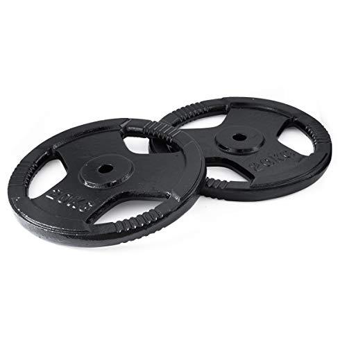 FIELDOOR 20kg ダンベル バーベル 穴開きプレート 2枚セット (40kg) シャフト径28mm対応 3ヶ所グリップ ダンベル バーベル トレーニング 筋トレ