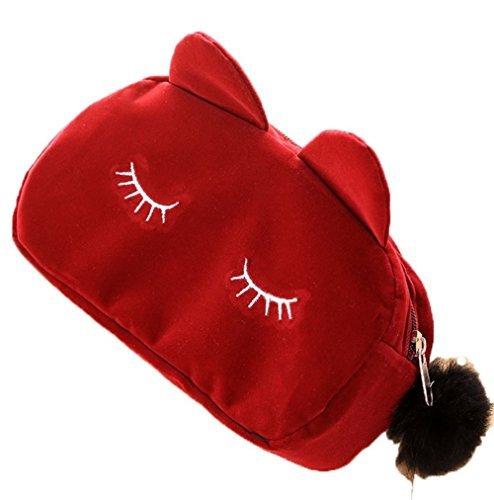 Lovemay Sac cosmétique pour Chat Multifonction Trousse de Maquillage pour Le Quotidien et Le Voyage 23 x 5,5 x 11 cm 23×5.5×11CM Rouge