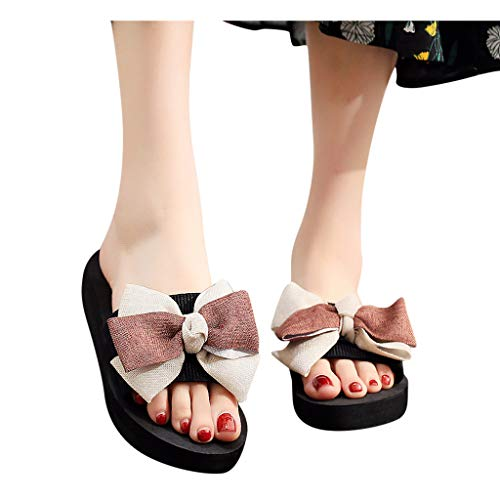 Buy Bargain Sunhusing Beach Slippers Women Colorblock Bowknot Clip Toe Flip-Flop Breathable Flat Ope...