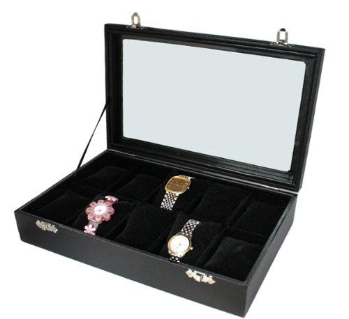 Boîte pour 10 Montres Boîte Vitrine Couvercle en Verre Horloge Coussin