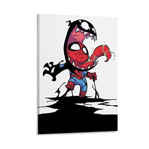 GDFG Kunstdruck auf Leinwand, Motiv Spiderman und Venom, 30 x 45 cm